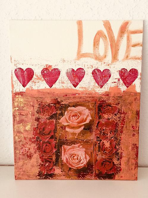 """Acrylbild Geschenkbild zur Hochzeit """"rote Rosen"""" UNIKAT"""