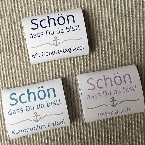 """personalisierte Banderolen für quadratische Minischokolade """"maritim"""""""