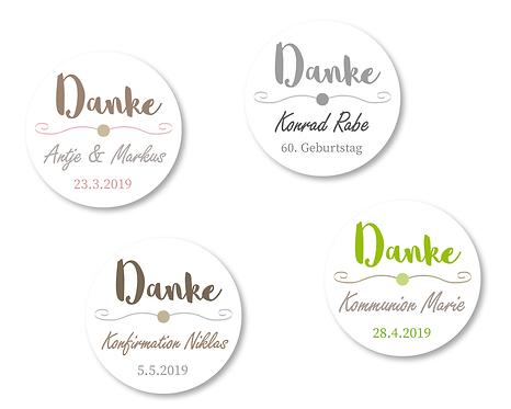 """DANKE Aufkleber """"Lettering"""" Ø 5cm, personalisiert, mit Wunschfarbe"""