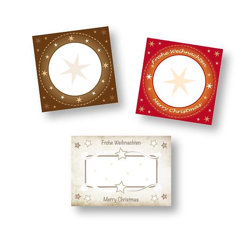 50 große Etiketten für Advent und Weihnachten - verschiedene Größen & Designs