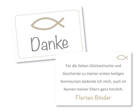 Personalisierte Dankekärtchen Zur Taufe Kommunion Konfirmation Fisch