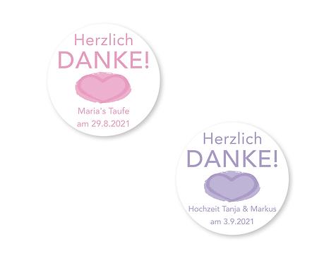 """DANKE Aufkleber für alle Anlässe & Feste Ø 5cm, personalisiert """"Herz"""""""