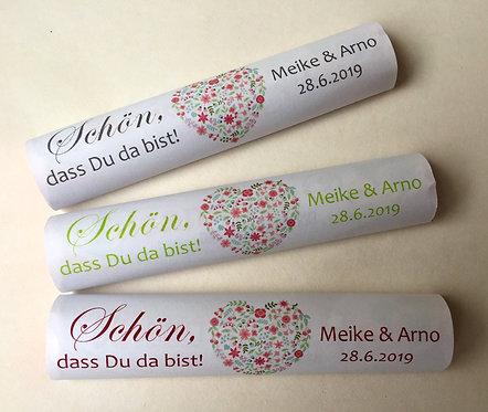 """Banderolen für Schokoriegel, personalisiert """"Blumenherz"""""""