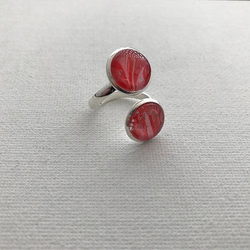Ring Kunstring Fingerring, versilbertes Unikat #R04-02