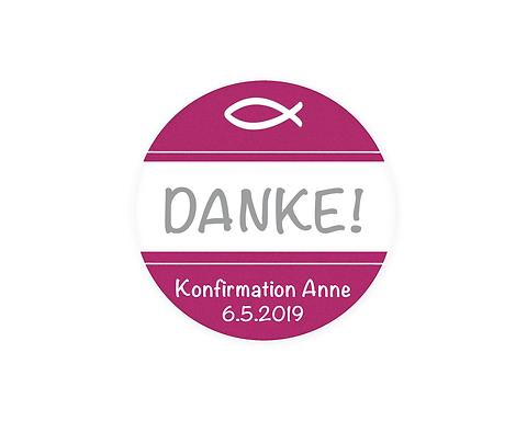 30 Danke Aufkleber Zur Taufe Kommunion Konfirmation ø 5 Cm Mit Wunschfarbe