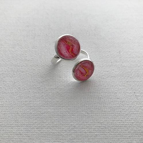 Ring Kunstring Fingerring, versilbertes Unikat #R04-05