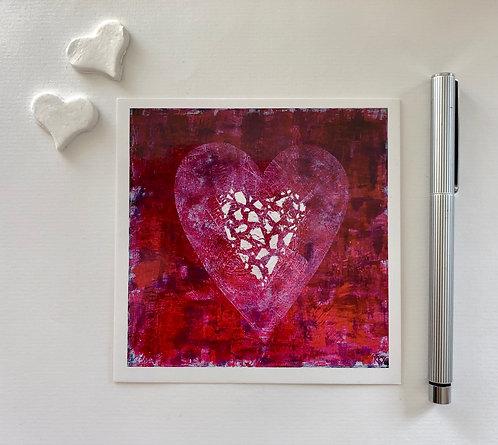 """2 Kunstkarten """"ACHTE AUF DEIN HERZ/GUARD YOUR HEART"""""""