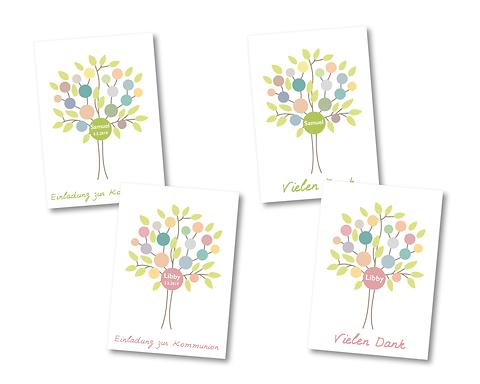 Einladungs Danksagungskarten Zur Taufe Kommunion Konfirmation Firmung Baum
