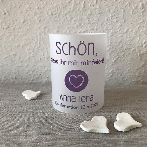 """Set: Teelichthülle Windlichtschirm personalisiert Wunschfarbe """"Herz rund"""""""