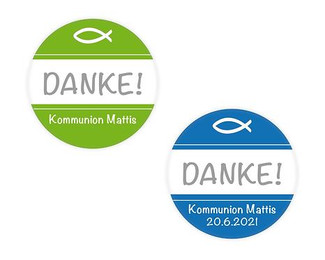DANKE Aufkleber zur Taufe Kommunion Konfirmation Ø 5 cm, mit Wunschfarbe