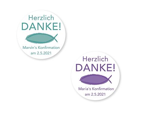 """DANKE Aufkleber für alle Anlässe & Feste Ø 5cm, personalisiert """"Fisch"""""""