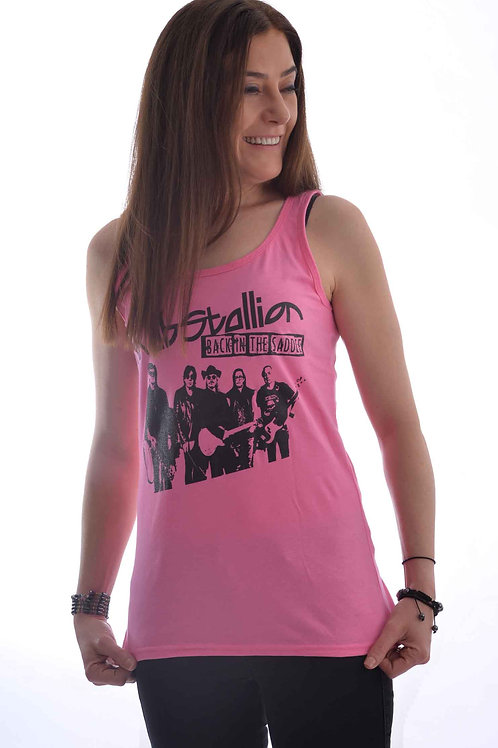 Pink Back in the Saddle Sleeveless Tank Top Female