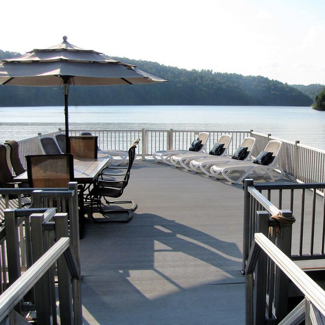 Upper level of dock is made for relaxing, dining and stunning views