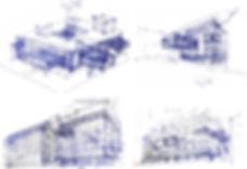 משה כץ אדריכל סקיצות מתחם עירני בברלין moshe katz architect sketces berlin urban center campus