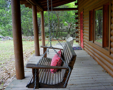 Front Porch of Texas Cabin Suites