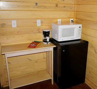 Mini Fridge, Coffee Pot, and Microwave