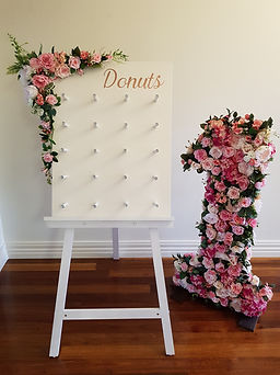 Donut board and floral number 1