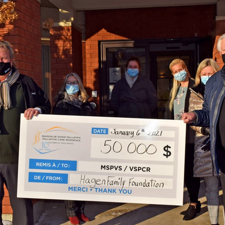 An unexpected $50,000 donation from the Hagen Family Foundation