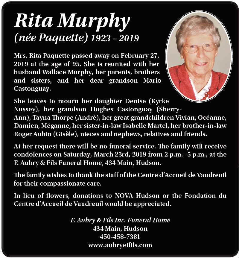Rita Murphy (née Paquette)