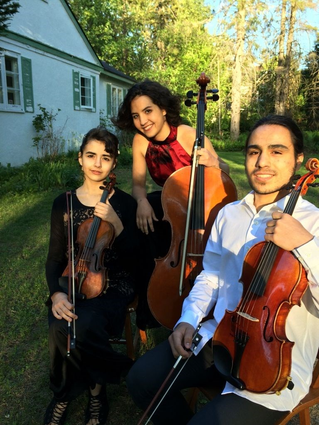 Three young Hudson virtuosos and budding stars on stage in Valleyfield