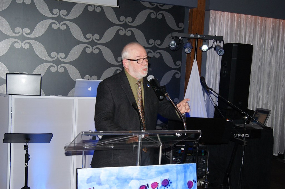 PHOTO BY JULES-PIERRE MALARTRE Le Zèbre Rouge's General Manager, Jean-Noël Bilodeau during his allocution during the Ken Lefrançois Memorial Gala for Mental Health.