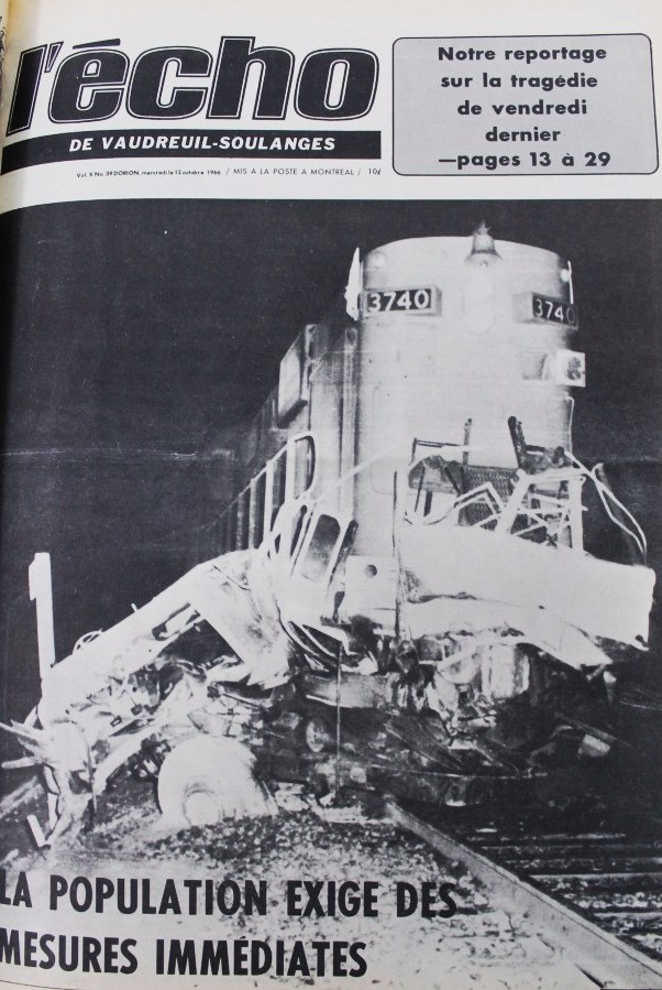 PHOTO BY PHIL HUOT, JOURNAL L'ÉCHO DE VAUDREUIL-SOULANGES/COURTESY CENTRE D'ARCHIVES DE VAUDREUIL-SOULANGES The front page of almost every newspaper in the province the day after the accident carried the same photo of the mangled locomotive and the tragic news of the deaths of so many young people.