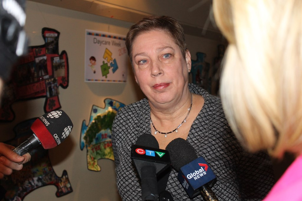 PHOTO BY CARMEN MARIE FABIO Lester B. Pearson School Board Chair Suanne Stein Day meets with reporters at the Monday, November 28 council meeting to explain why she intends to stay on in her position despite being recently found guilty of three counts of breaching board ethics.