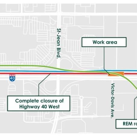 Highway 40 west closure info