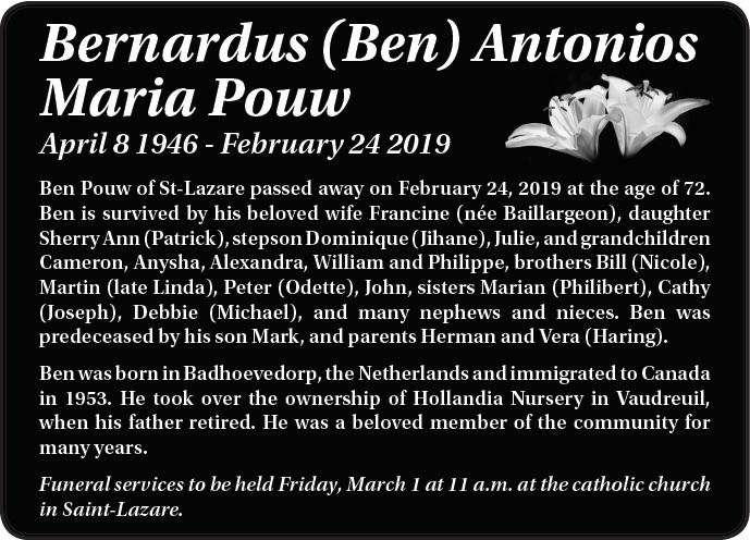 Bernardus (Ben) Antonios Maria Pouw