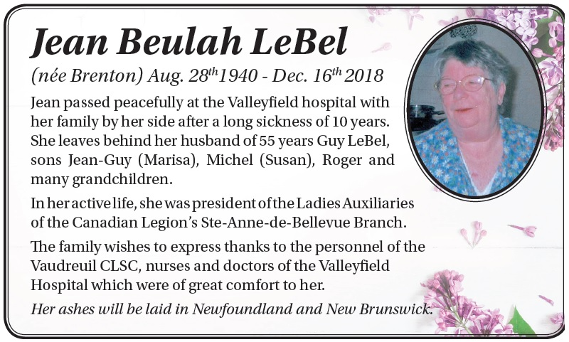 Jean Beulah LeBel (née Brenton)