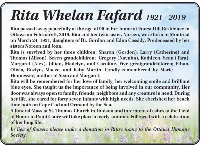 Rita Whelan Fafard