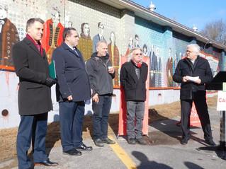 Peter Schiefke dedicates historic mural at Hudson Community Centre