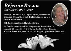 Réjean Rozon (née Léger)