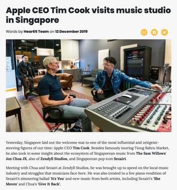 Apple CEO Tim Cook visits music studio in Singapore