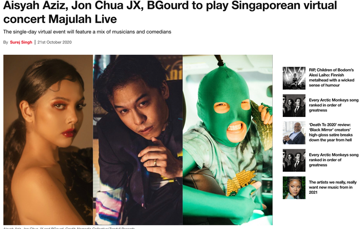 Aisyah Aziz, Jon Chua JX, BGourd to play Singaporean virtual concert Majulah Live