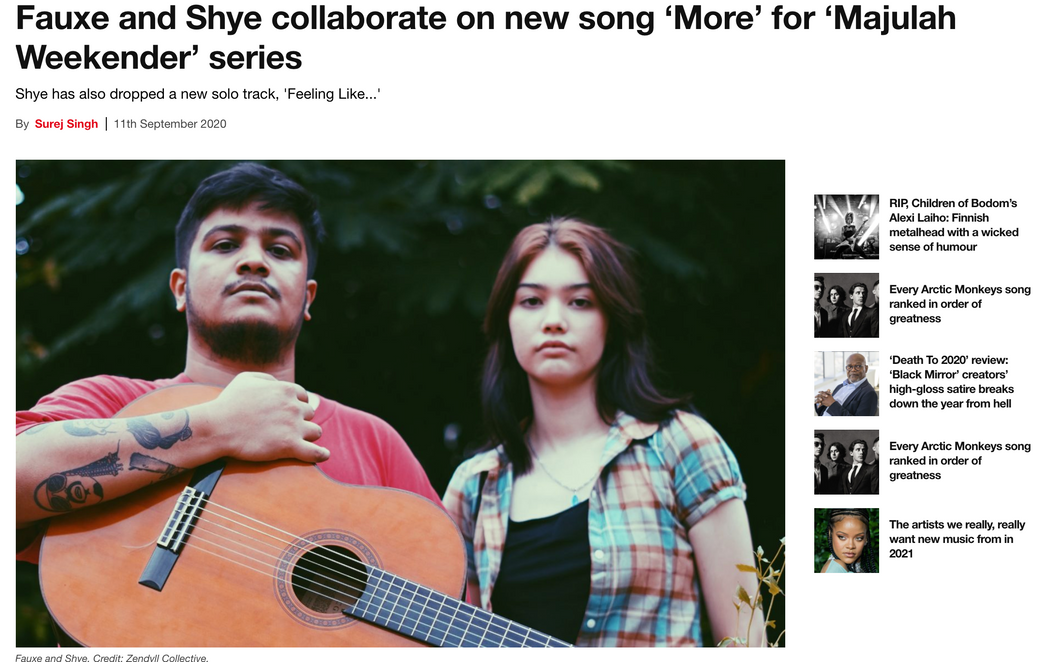 Fauxe and Shye collaborate on new song 'More' for 'Majulah Weekender' series