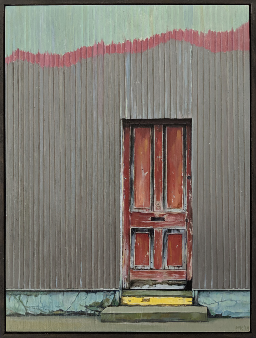 Weathered red door