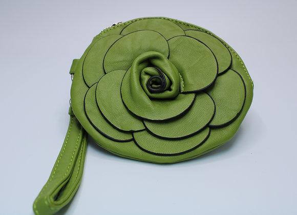 Green Rose Design Handbag