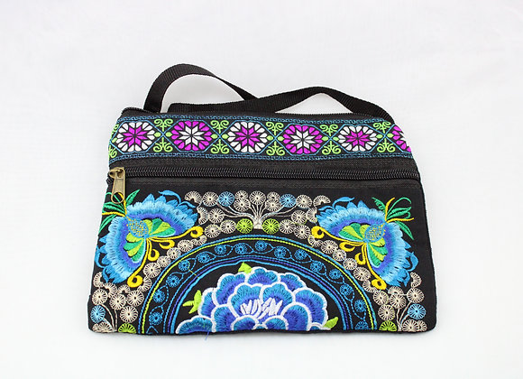 Blue Flower Embroidered Pouch Bag