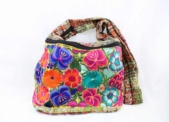Cross Body Ethnic Bag Flower Design (Orange/Green)