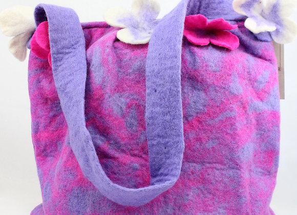 Handmade Pink and Purple Fleece Bag