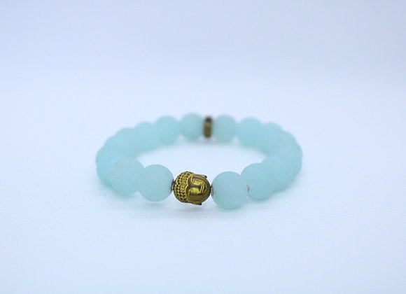 Matte Light Blue Bracelet with Gold Buddha
