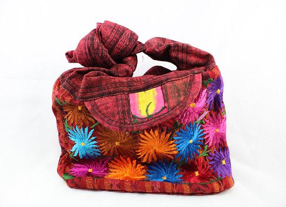 Cross Body Ethnic Bag Flower Design (Red)