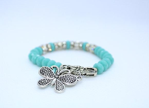 Light Blue and Silver Butterfly Bracelet