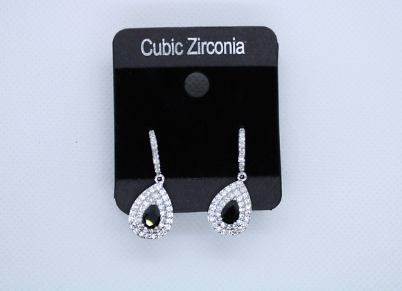 Silver and Black Cubic Zirconia Earrings