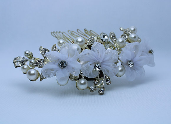 Silver Hair Accessory with White Flowers and Pearls