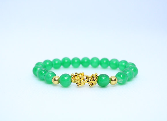 Jade and Gold Pixiu Protection Bracelet
