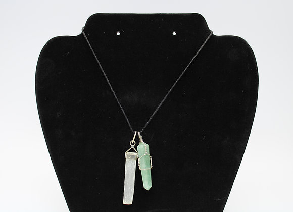Jade and Clear Quartz Combo Necklace