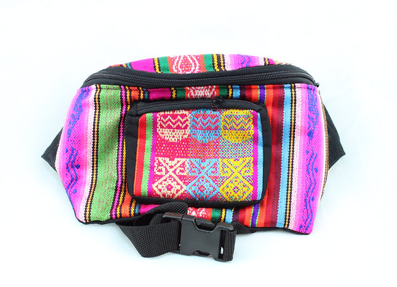 Woven Pink/Green/Purple Fanny Pack