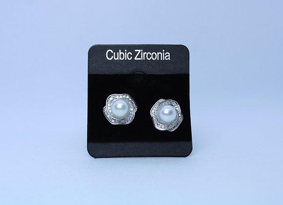 Silver Cubic Zirconia w/ Pearls Earrings